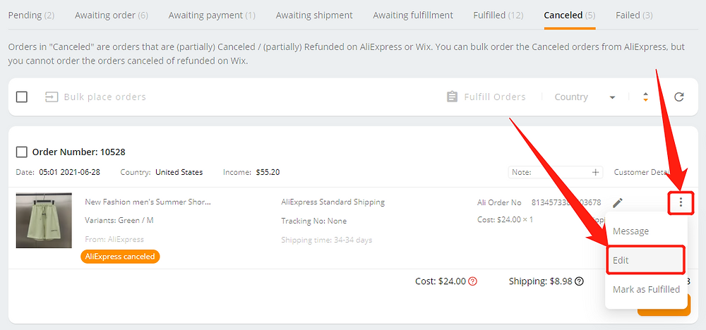 Re-order Awaiting payment orders with Wix DSers - edit order - Wix DSers