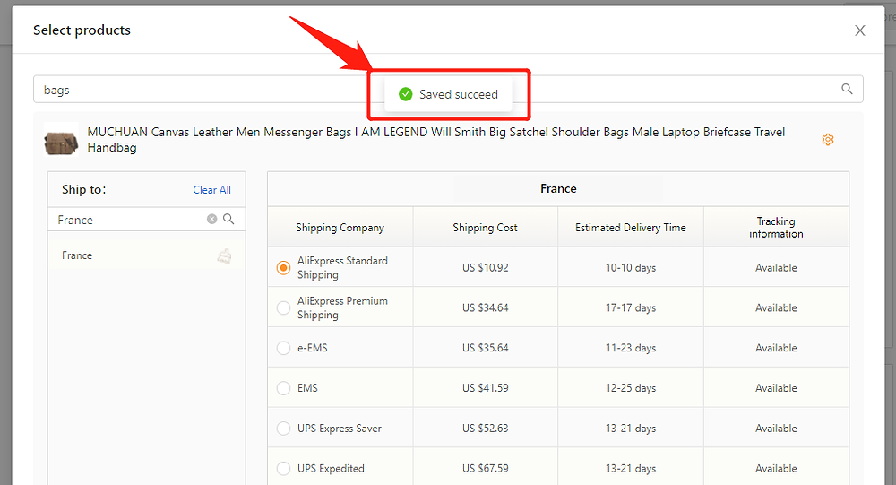 Set shipping method for specific product with DSers - Saved successfully - DSers