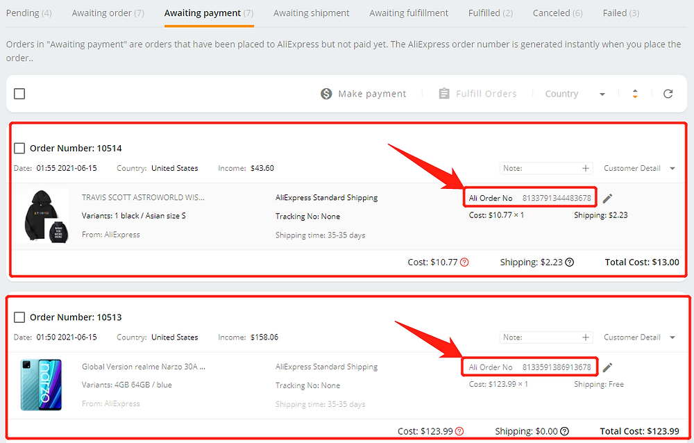 Pay multiple orders on AliExpress with Wix DSers - order numbers - Wix DSers