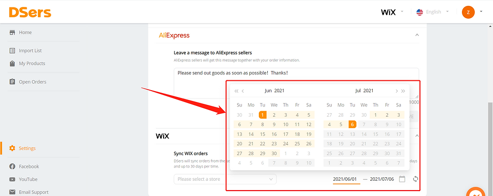 2 - Synchronize your store orders with Wix DSers - Select date range - Wix DSers
