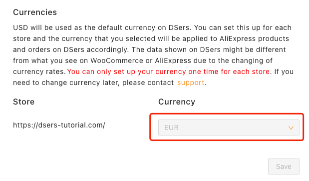 Change and set currency on Woo DSers - New currency successfully set - Woo DSers