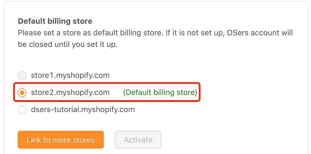 Change default billing store - New default billing store - DSers
