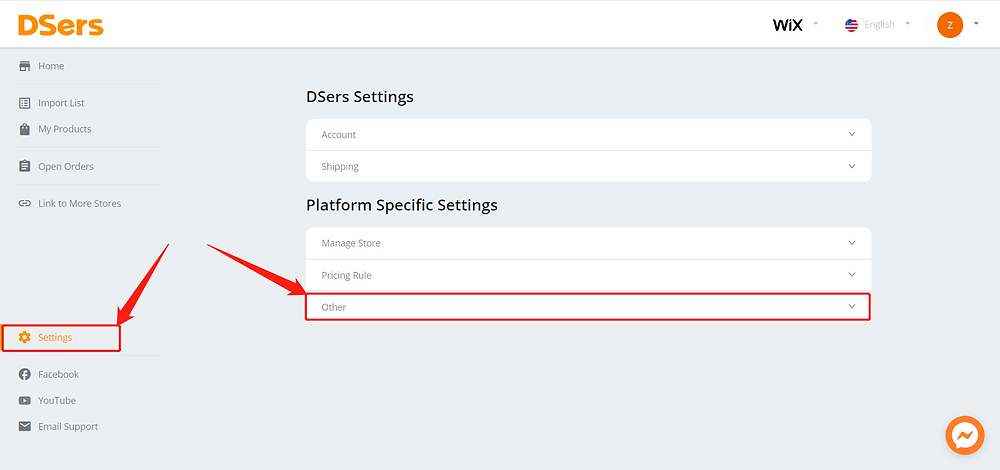 Default message to suppliers - Setting Other - Wix DSers