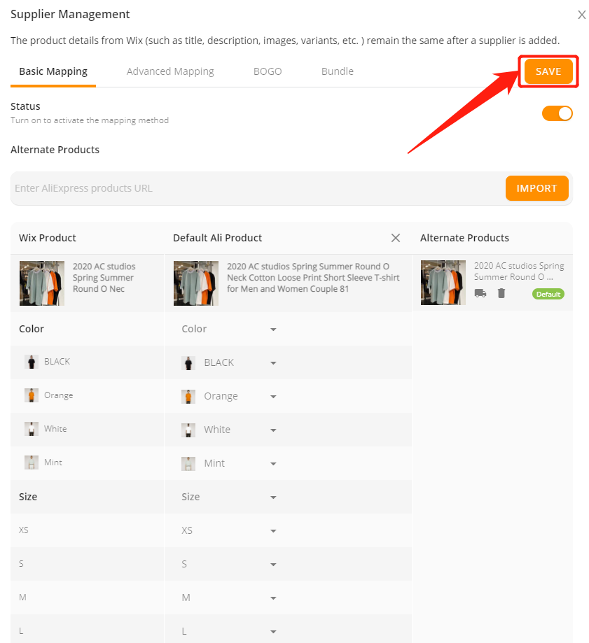 Connect AliExpress suppliers to your products with Wix DSers - Save the changes - Wix DSers