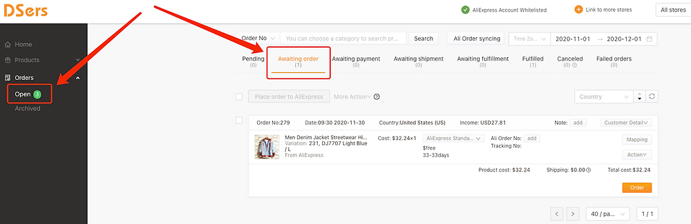 Place an order from WooCommerce to AliExpress with Woo DSers - Awaiting Order - Woo DSers