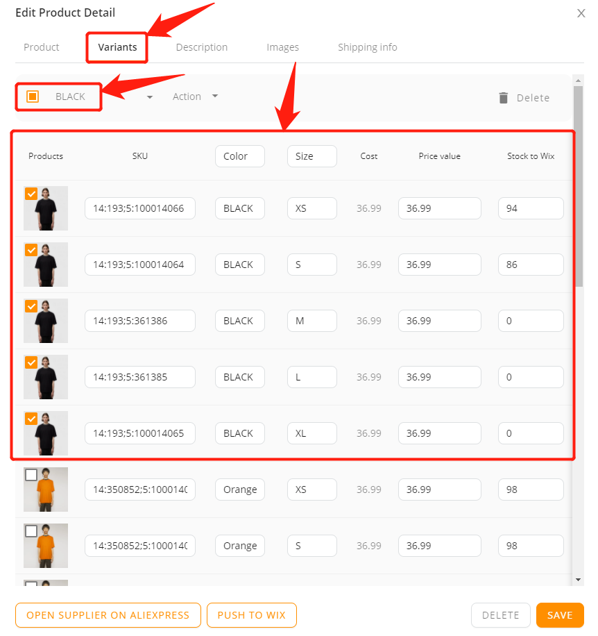 Edit a product on DSers with Wix DSers - select product variant - Wix DSers