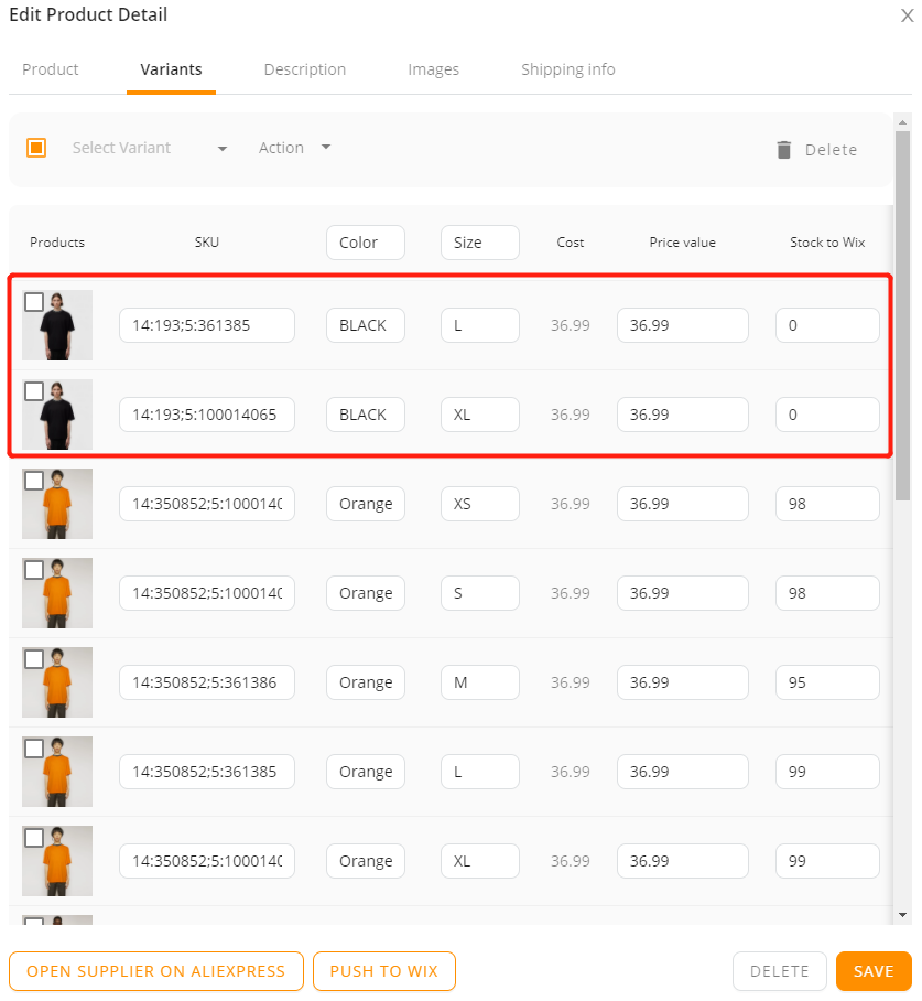 Edit a product on DSers with Wix DSers - deleted - Wix DSers