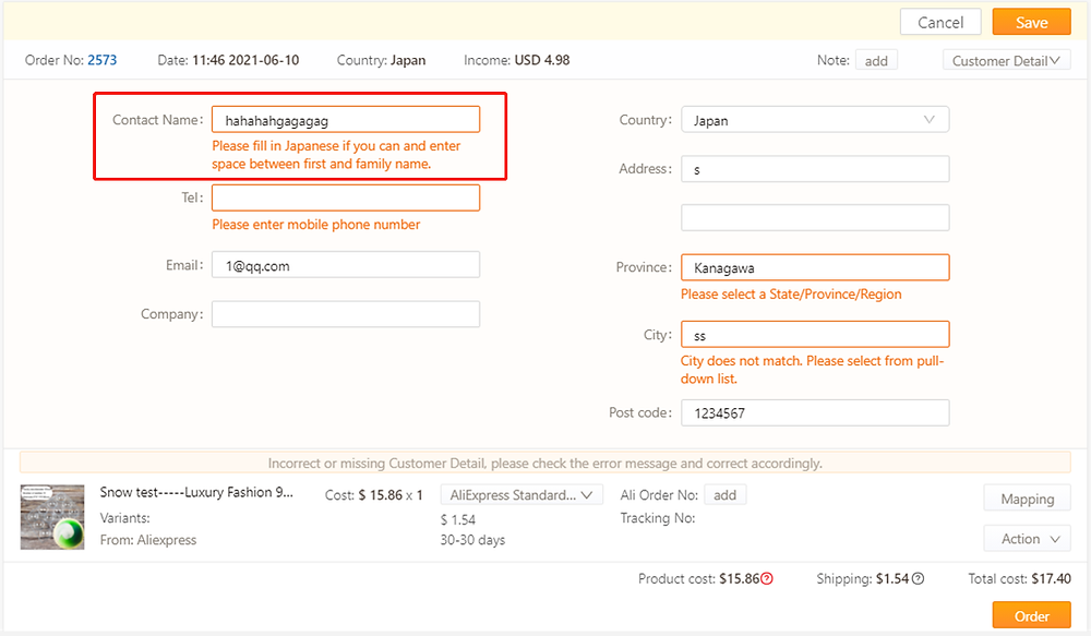 Orders to Japan specifications with Shopify DSers - Wrong name - Shopify DSers