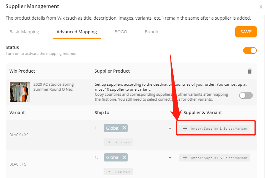 Advanced Mapping with Wix DSers - Click Import supplier & Select variant - Wix DSers
