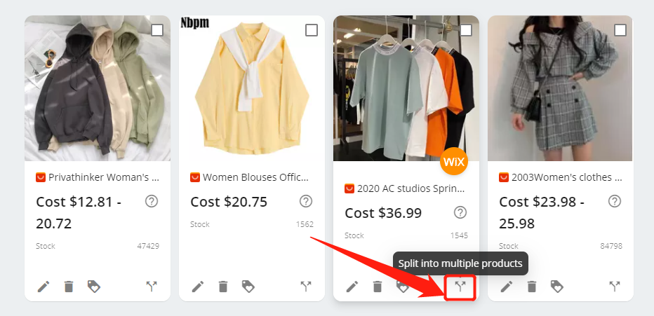 Split a product with Wix DSers - Split into multiple products - Wix DSers