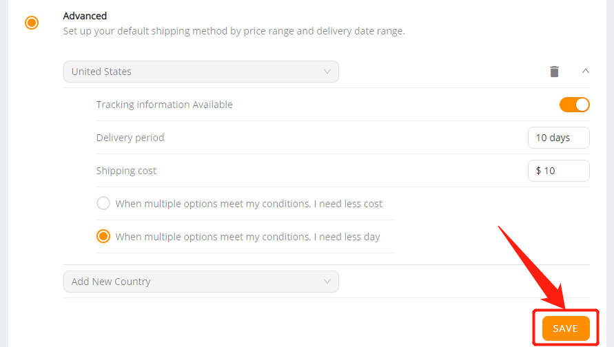 Set shipping method for all products with Wix DSers - save - Wix DSers