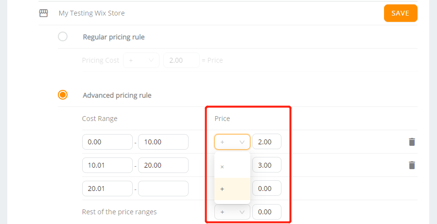 Pricing Rule with Wix DSers - add or multiply the price - Wix DSers