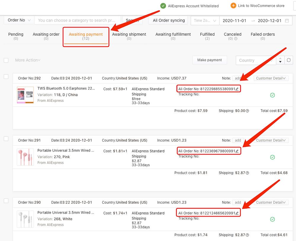 Fazer múltiplos pedidos do WooCommerce no AliExpress com Woo DSers - 9 - Woo DSers