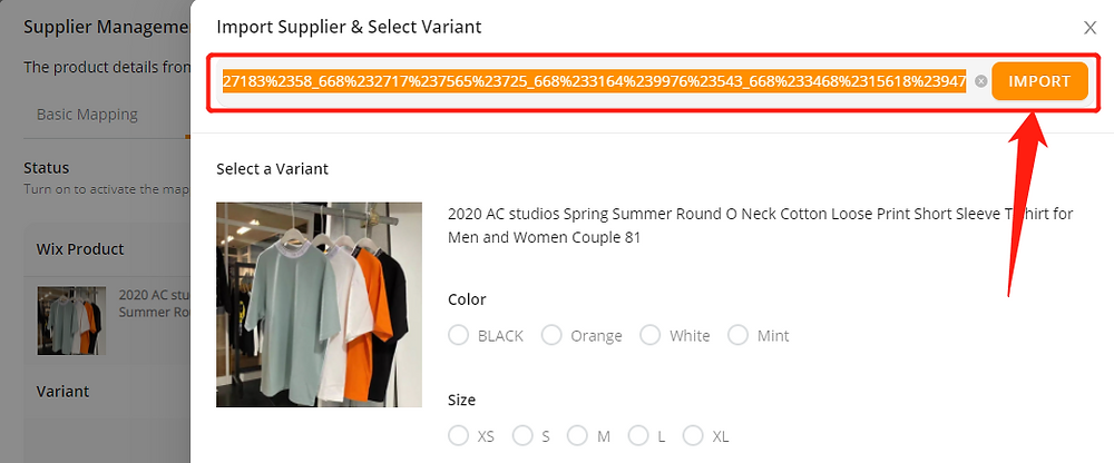 Advanced Mapping with Wix DSers - Paste the URL - Wix DSers