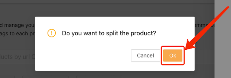 Split a product with Woo DSers - Confirm Splitting by size - Woo DSers