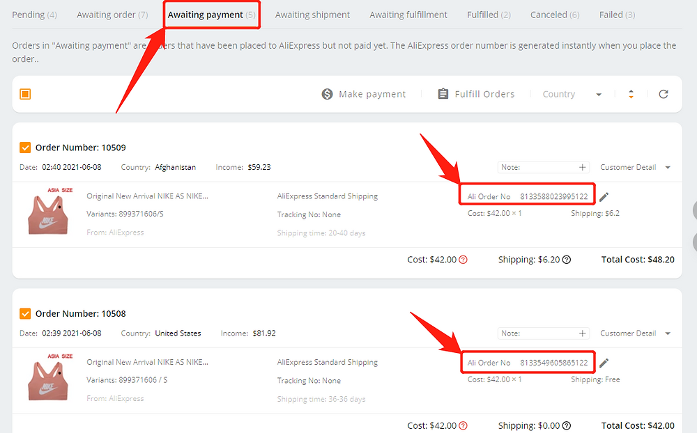 Place multiple orders from Wix to AliExpress with Wix DSers - Awaiting payment - Wix DSers