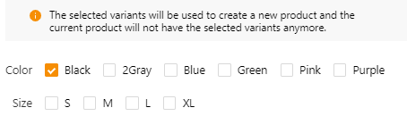 How to split a product - Select Black Variant Only - DSers