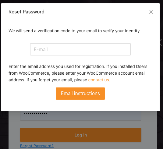 Change password with Woo DSers - Enter email - Woo DSers