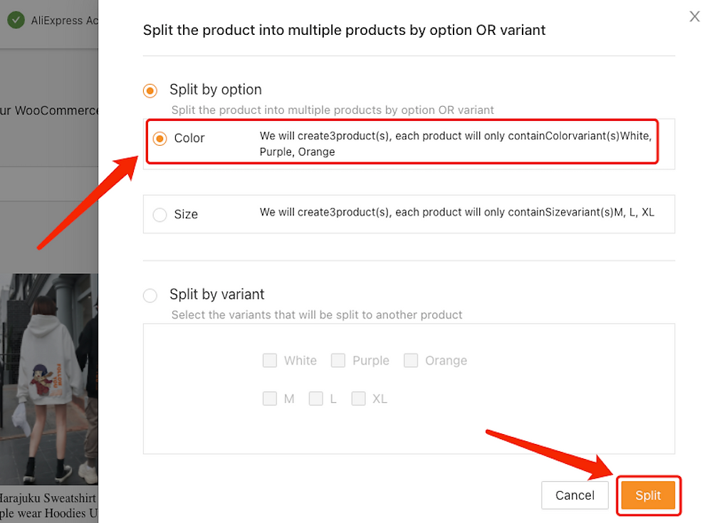 Split a product with Woo DSers - Split by Color - Woo DSers