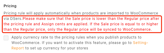 Pricing rules with Woo DSers - Sale price lower regular price - Woo DSers