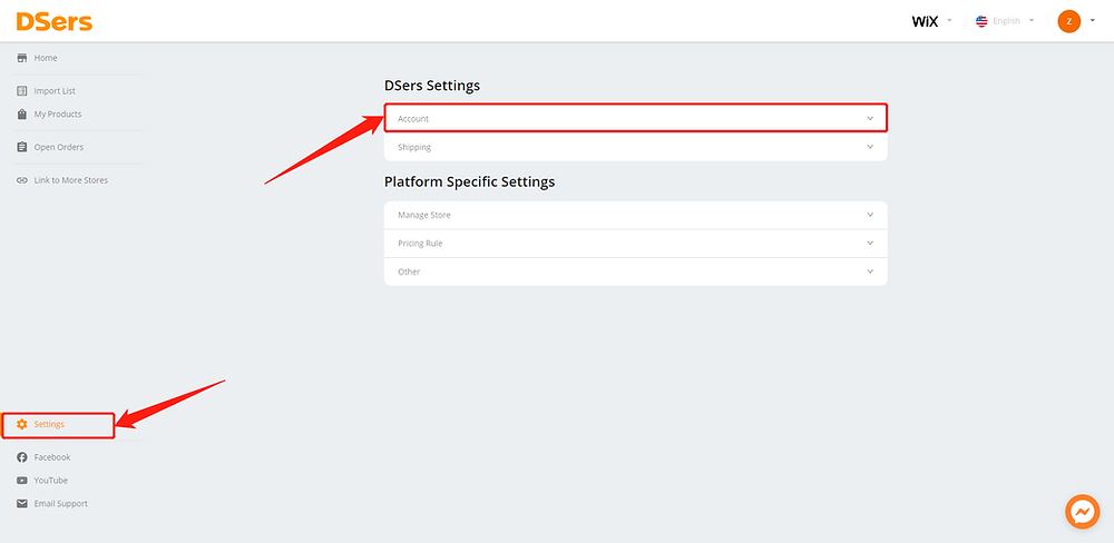Change AliExpress account - DSers Settings - Wix DSers