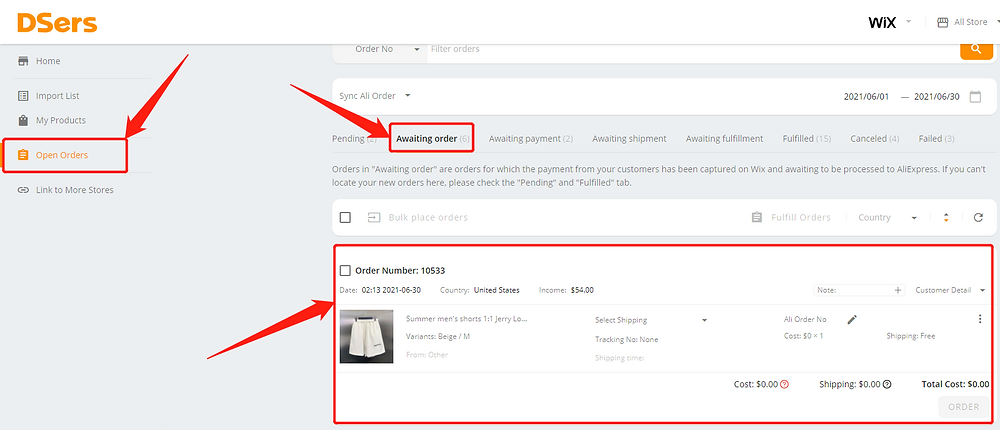 Re-order an order with deleted product with Wix DSers - awaiting order - Wix DSers
