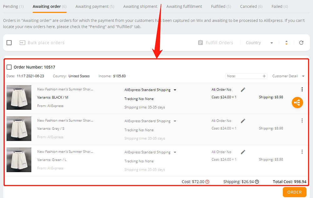 Shipping fees on DSers with Wix DSers - variants from same supplier - Wix DSers