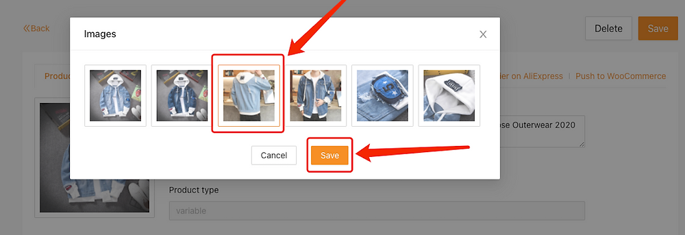 Edit a product on Woo DSers - Select picture - Woo DSers