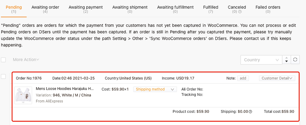 Pending orders introduction with Woo DSers - DSers' Pending tab - Woo DSers