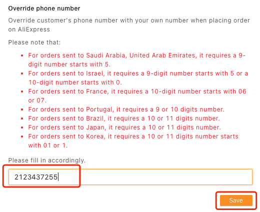 Orders to Portugal specifications with Woo DSers - Enter phone number - Woo DSers