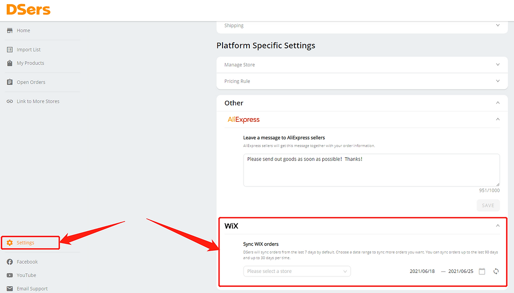 Fulfill orders manually on Wix with Wix DSers - setting - Wix DSers