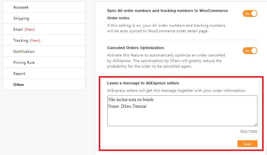 Mensagem padrão para os fornecedores com Woo DSers - 3 - Woo DSers