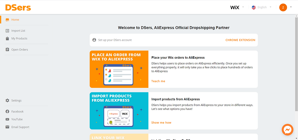 Disconnect AliExpress account with Wix DSers - DSers homepage - Wix DSers