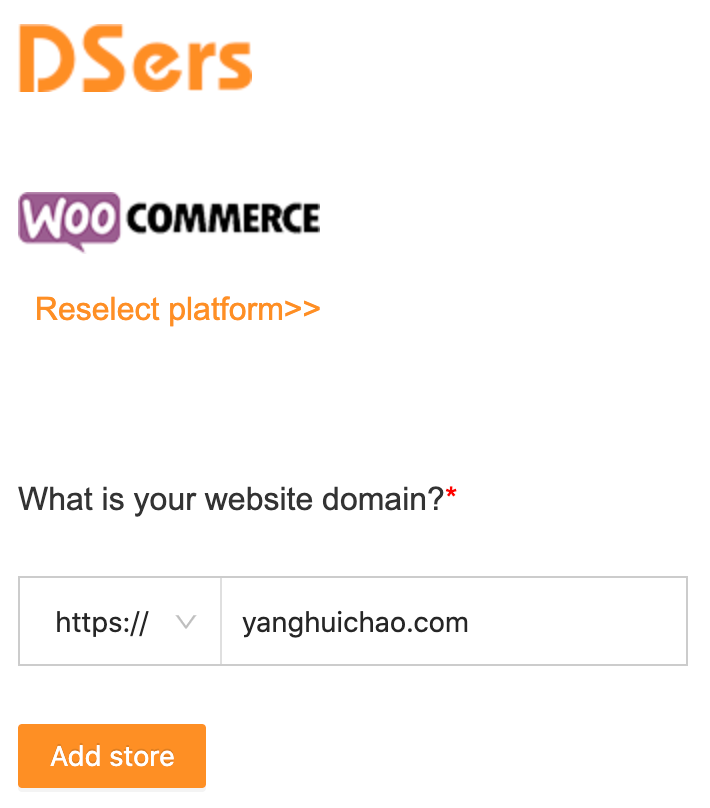 Link your WooCommerce store with Woo DSers - Add Store - Woo DSers