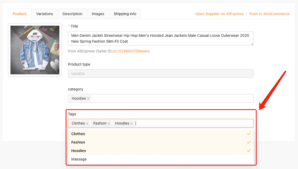 Edit a product on Woo DSers - Manage tags - Woo DSers