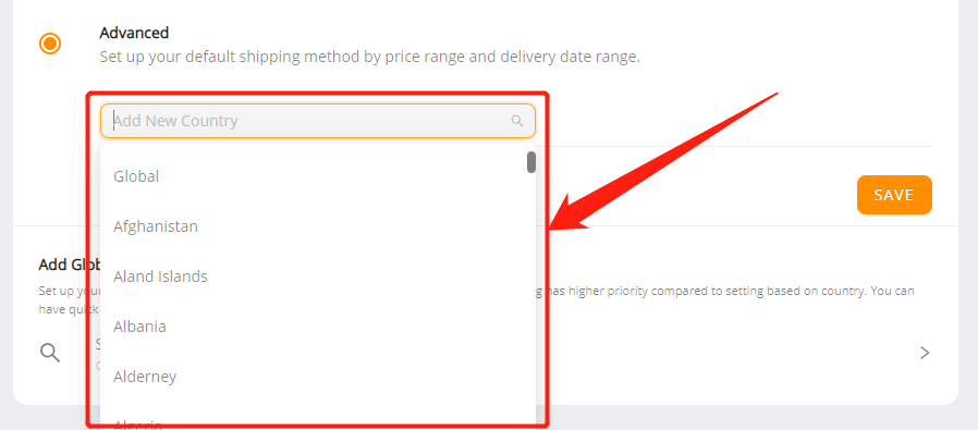 Set shipping method for all products with Wix DSers - select country - Wix DSers