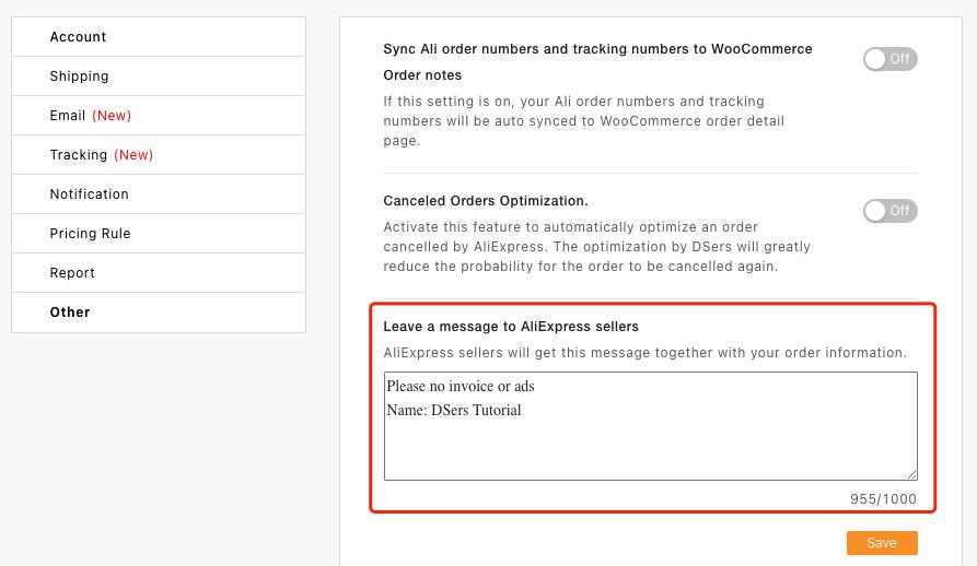 Message aux fournisseurs par défaut avec Woo DSers - 3 - Woo DSers