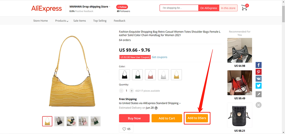 Import Product from AliExpress with Wix DSers - Add to DSers - Wix DSers