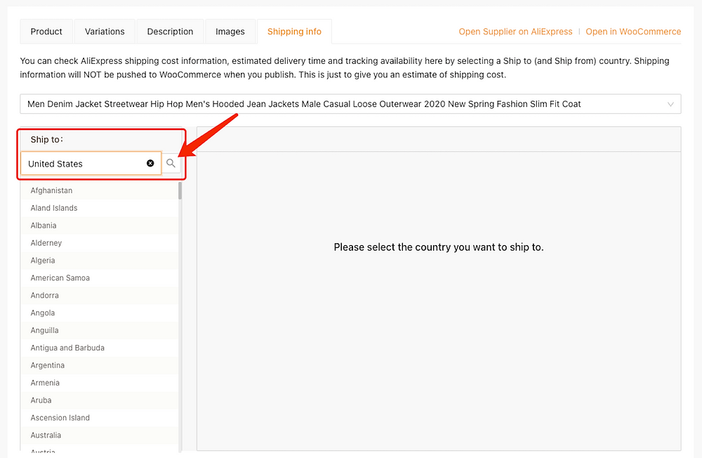 Edit a product on Woo DSers - Select a country - Woo DSers