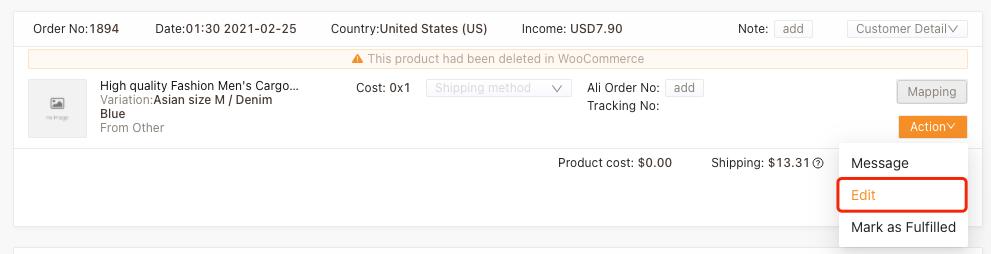 Refazer um pedido com produto excluído com Woo DSers - 2 - Woo DSers