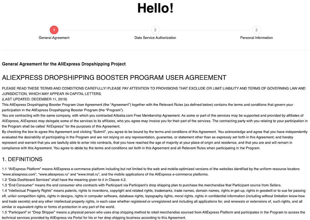 Link Woo DSers to AliExpress - AliExpress general agreement - Woo DSers