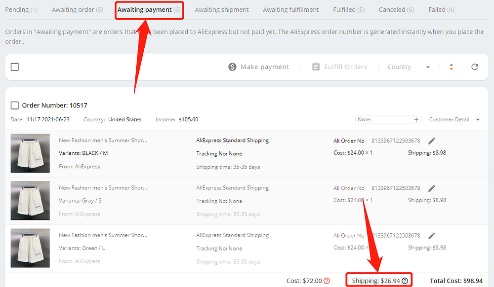 Shipping fees on DSers with Wix DSers - awaiting payment - Wix DSers