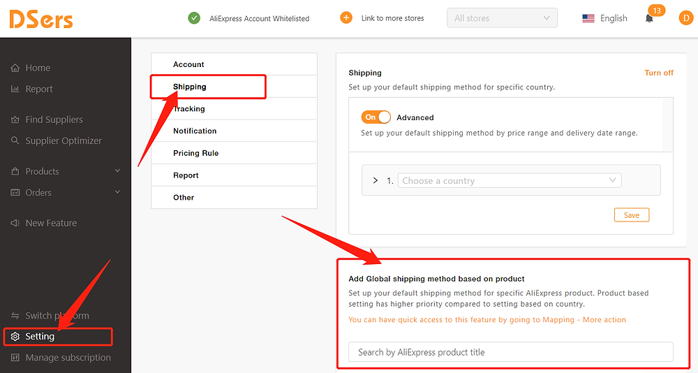 Set shipping method for specific product with DSers - Access Shipping Setting - DSers