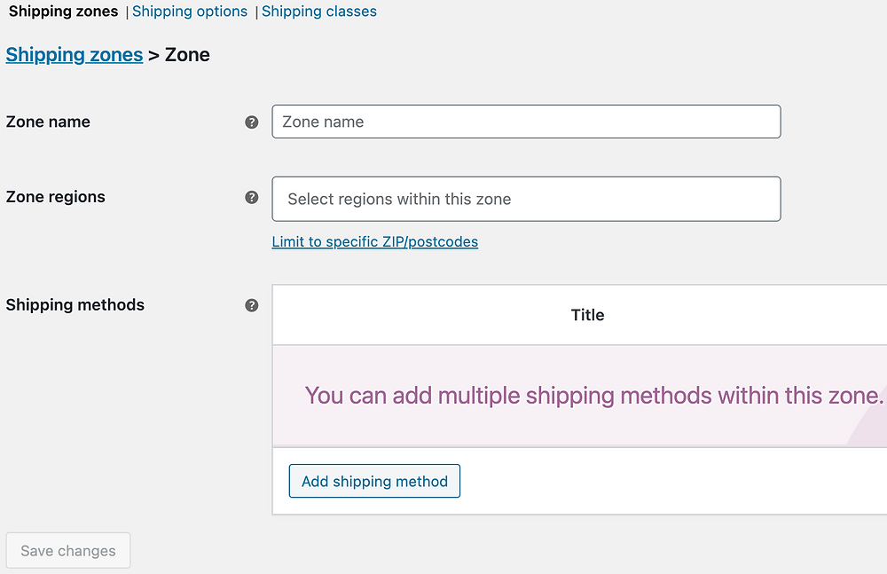Checkout failure in your WooCommerce store with Woo DSers - Edit shipping zone - Woo DSers