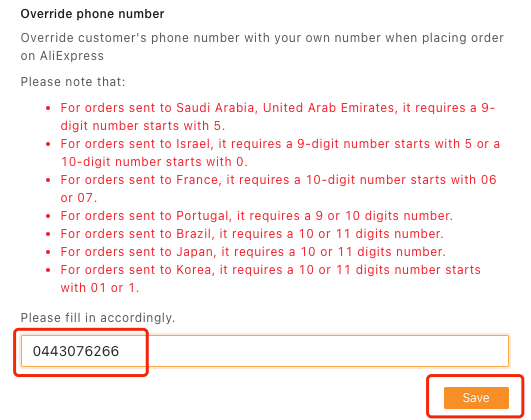 Orders to France specifications with Woo DSers - Enter phone number - Woo DSers