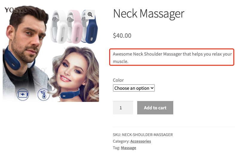 Create a product on WooCommerce with Woo DSers - Product Short Description Example - Woo DSers
