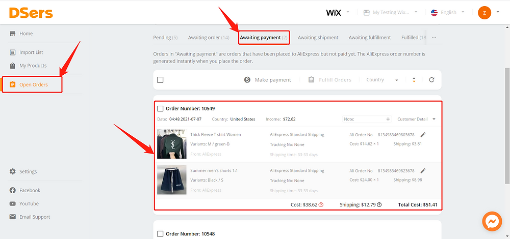 Awaiting fulfillment introduction - Awaiting order - Wix DSers