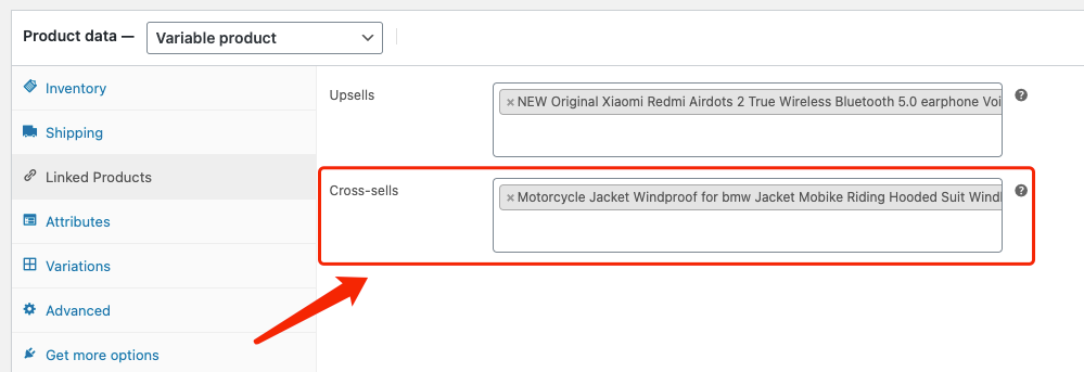 Edit a product on WooCommerce with Woo DSers - Cross-sells - Woo DSers
