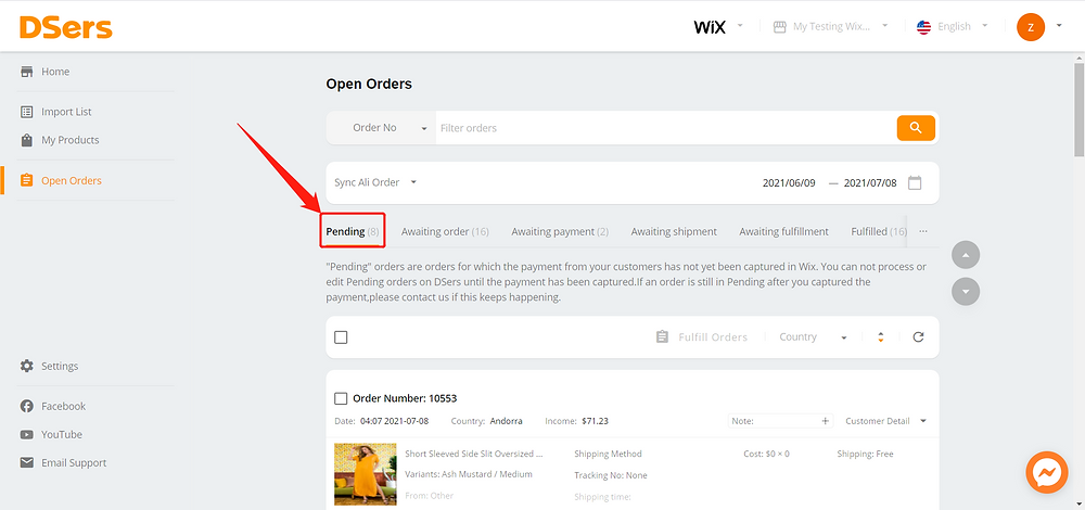 Pending orders introduction for Wix DSers - pending tab - Wix DSers