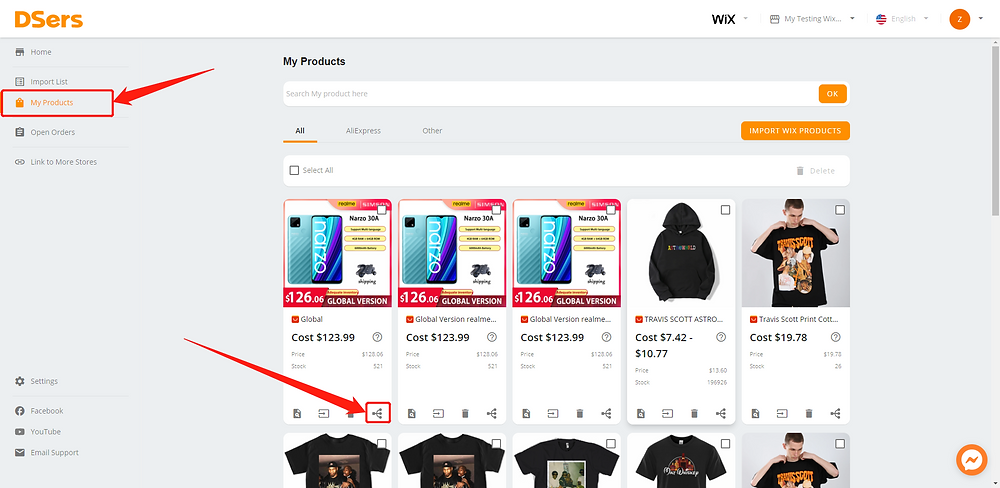 Add a variant to a product with Wix DSers - my products - Wix DSers